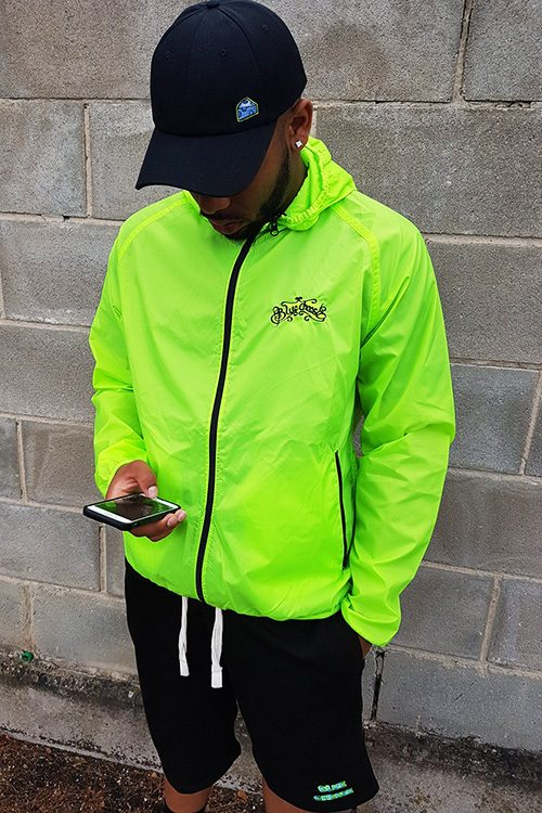 Lime Green BlueCheese Windbreaker Jacket with Hat