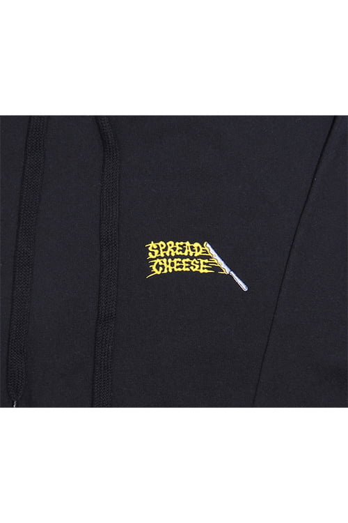 cheese spread hoodie close up
